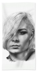 Nina Nesbitt Drawing By Sofia Furniel Beach Sheet by Sofia Furniel