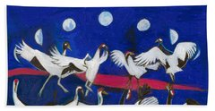 Beach Towel featuring the painting Nine Dancing Cranes by Denise Weaver Ross
