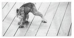 Ninja Lynx Kitty Bw Beach Towel