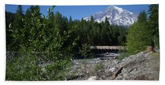 Nisqually River Suspension Bridge Beach Sheet by Ansel Price