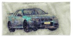 Nissan Skyline Gt-r 1 - Spors Car - Automotive Art - Car Posters Beach Towel