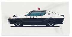 Nissan Skyline Gt-r C110 Japan Police Car Beach Towel
