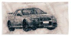 Nissan Skyline Gt-r - Spors Car - Automotive Art - Car Posters Beach Towel