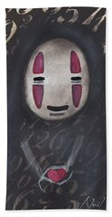 No Face With A Heart Beach Sheet by Abril Andrade Griffith