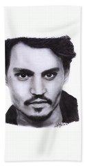 Johnny Depp Drawing By Sofia Furniel Beach Towel by Sofia Furniel