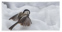 Beach Towel featuring the photograph Chickadee - Wings At Work by Patti Deters