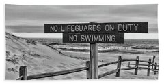 No Lifeguards On Duty Black And White Beach Sheet by Paul Ward