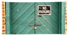No Parking Warehouse Door Beach Sheet