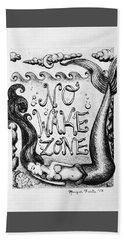 Beach Towel featuring the drawing No Wake Zone, Mermaid by Monique Faella