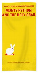 No036 My Monty Python And The Holy Grail Minimal Movie Poster Beach Towel by Chungkong Art