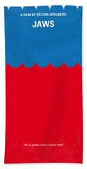 No046 My Jaws Minimal Movie Poster Beach Towel by Chungkong Art