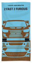 No207-2 My 2 Fast 2 Furious Minimal Movie Poster Beach Towel
