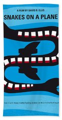 No501 My Snakes On A Plane Minimal Movie Poster Beach Towel by Chungkong Art