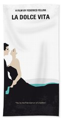 No529 My La Dolce Vita Minimal Movie Poster Beach Towel