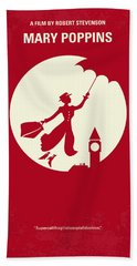 No539 My Mary Poppins Minimal Movie Poster Beach Towel by Chungkong Art