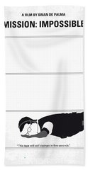 No583 My Mission Impossible Minimal Movie Poster Beach Towel