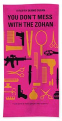 Beach Towel featuring the digital art No743 My You Dont Mess With The Zohan Minimal Movie Poster by Chungkong Art