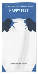 No744 My Happy Feet Minimal Movie Poster Beach Towel