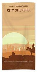 No821 My City Slickers Minimal Movie Poster Beach Towel