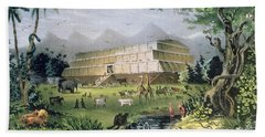 Noahs Ark Beach Towel by Currier and Ives