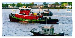 Norfolk Va - Police Boat And Two Tugboats Beach Sheet
