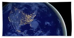 Beach Towel featuring the photograph North America From Space by Delphimages Photo Creations