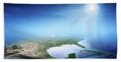 North America Sunrise Aerial View Beach Towel