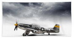 Beach Towel featuring the digital art North American P-51 Mustang by Douglas Pittman