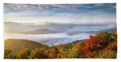 North Carolina Autumn Sunrise Blue Ridge Parkway Fall Foliage Nc Mountains Beach Towel