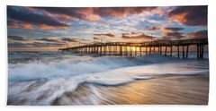 North Carolina Outer Banks Seascape Nags Head Pier Obx Nc Beach Sheet