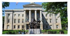 North Carolina State Capitol Building With Statue Beach Towel