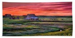 Beach Towel featuring the photograph North Dakota Farm At Sunrise by Rikk Flohr