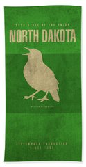 North Dakota State Facts Minimalist Movie Poster Art Beach Towel