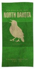North Dakota State Facts Minimalist Movie Poster Art Beach Towel