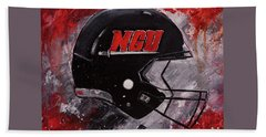 Beach Towel featuring the painting North Greenville University Football Helmet Wall Art Painting by Gray Artus