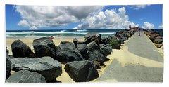 North Haven Breakwater Walkway By Kaye Menner Beach Towel