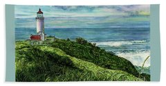 North Head Lighthouse And Beyond Beach Towel