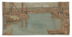 North River Dock, New York, 1901 Beach Towel