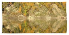 Beach Towel featuring the photograph North Saskatchewan River Reflections by Jim Sauchyn