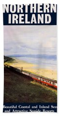 Northern Ireland Coast, Railway, Train, Travel Poster Beach Towel