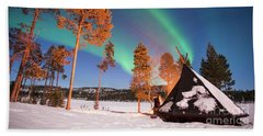 Beach Towel featuring the photograph Northern Lights By The Lake by Delphimages Photo Creations