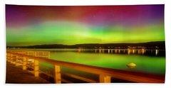 Northern Lights Over Okanagan Lake Canada Beach Towel