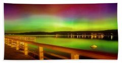 Northern Lights Over Okanagan Lake Canada Beach Sheet