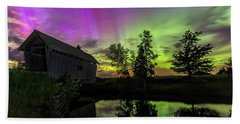 Northern Lights Reflection Beach Towel