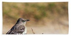 Northern Mockingbird Sitting On Top Of A Hedge Beach Towel