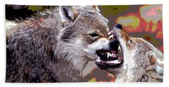 Beach Towel featuring the mixed media Norway Wolf by Charles Shoup