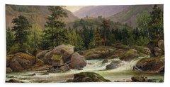 Norwegian Waterfall Beach Sheet by Thomas Fearnley