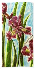 Nostalgic Irises Beach Towel