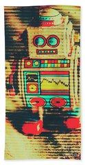 Nostalgic Tin Sign Robot Beach Towel
