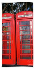 Not Quite Identical Twin Phone Boxes In Gibraltar Beach Towel